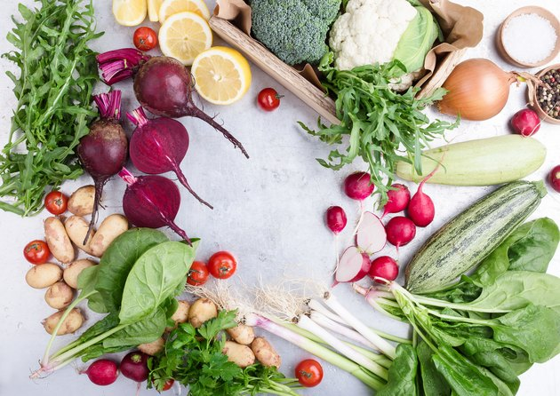 Fresh organic vegetables and herbs composition