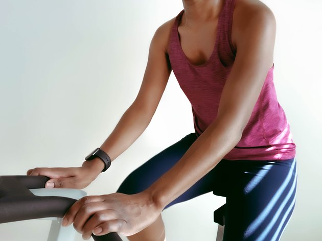 Close-Up of Woman on Exercise Bike
