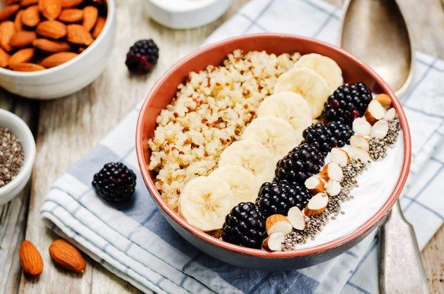 Greek yogurt almond banana Chia seeds Quinoa blackberry breakfast bowl for yogurt recipes