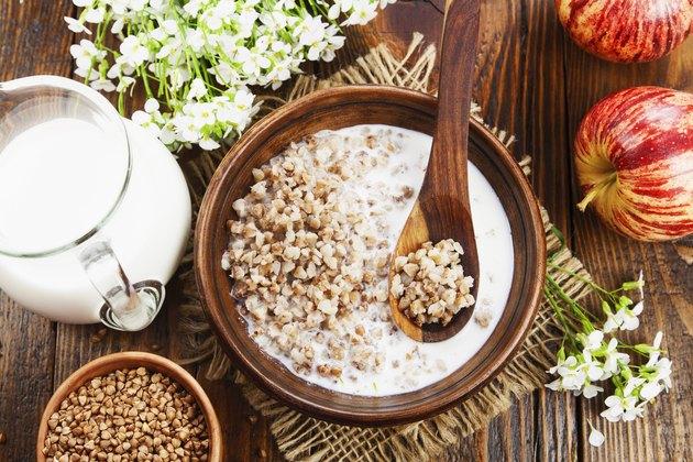 Buckwheat porridge with milk for gluten-free breakfast