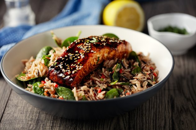 Blood sugar levels peak after eating wild rice salad with grilled teriyaki  salmon fillet