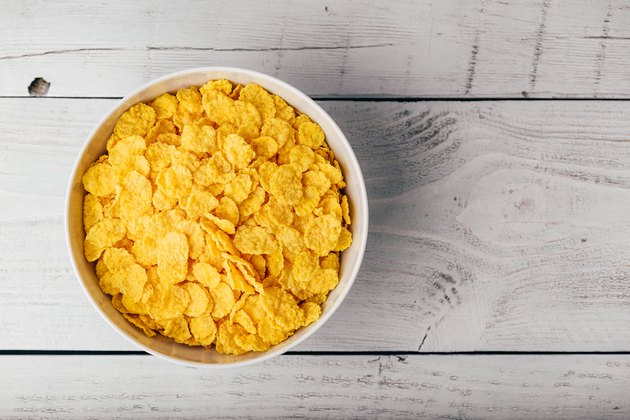 White bowl of corn flakes