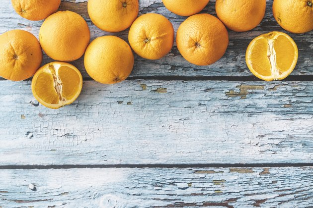 Oranges on wooden table