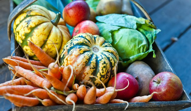 Organic Fall Vegetables and Fruit in Wooden Basket