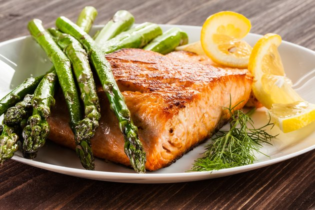 Grilled salmon with French fries and asparagus for slow cooker fish