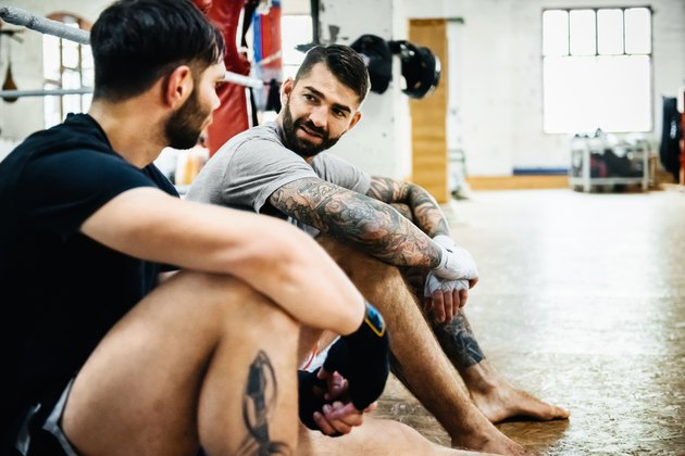 Two Muay Thai Boxing Athletes Talking