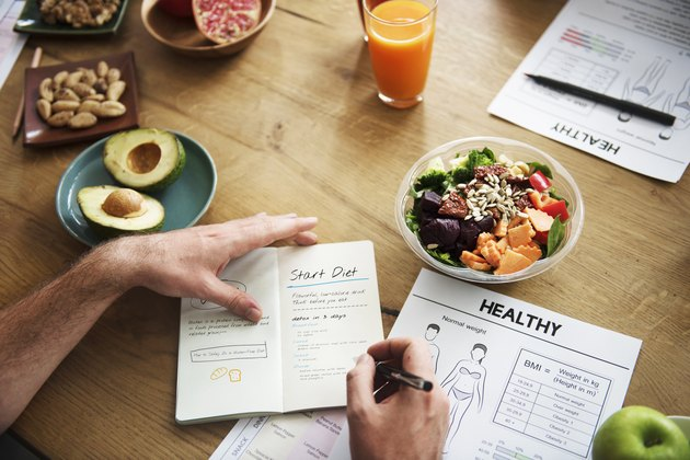 A table full of healthy food and information about weight loss