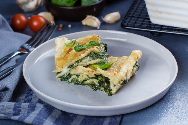 Homemade spinach and ricotta lasagna.