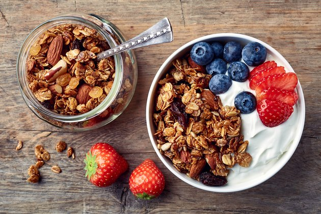 Homemade granola with yogurt and fresh berries