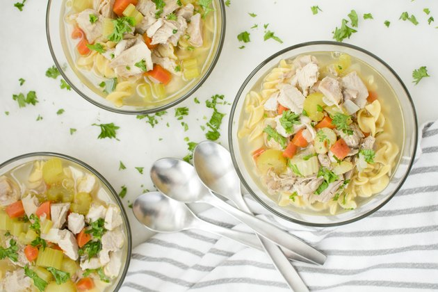 Bowls of Chicken Noodle Soup with Vegetables