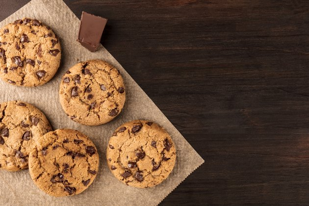 Chocolate chips cookies on baking paper with copyspace