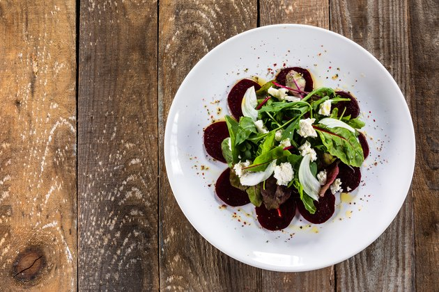 Vegetable salad on wooden background
