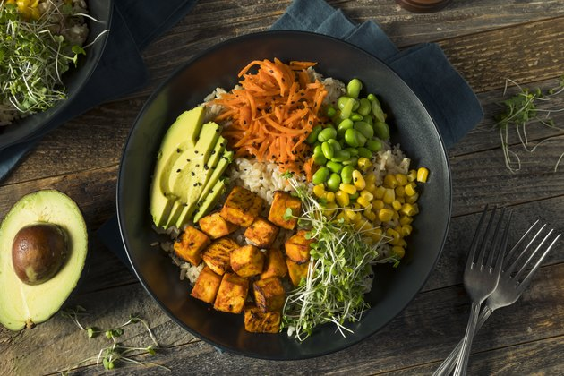 Healthy Organic Tofu and Rice Buddha Bowl