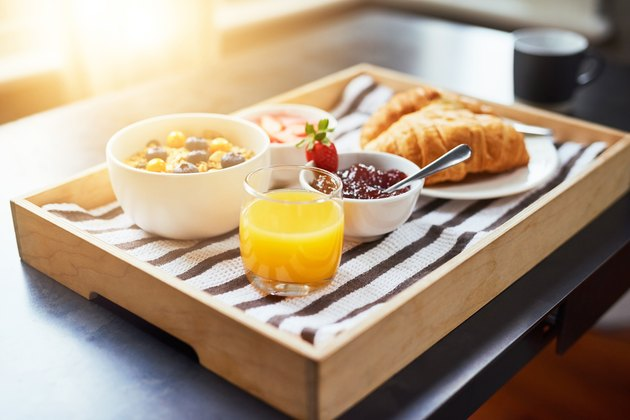 Breakfast with sugary foods like cereal, bread and juice
