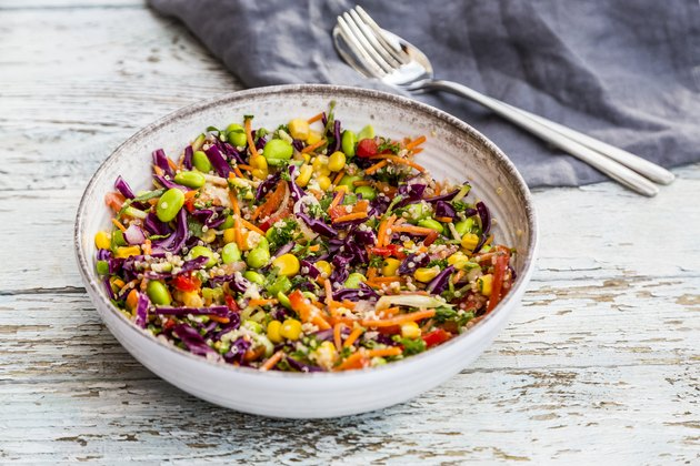 A bowl of quinoa salad with beans for weight loss