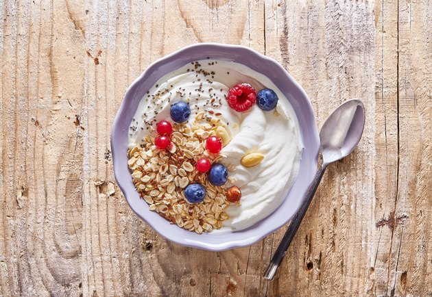 Breakfast in bowl on table.