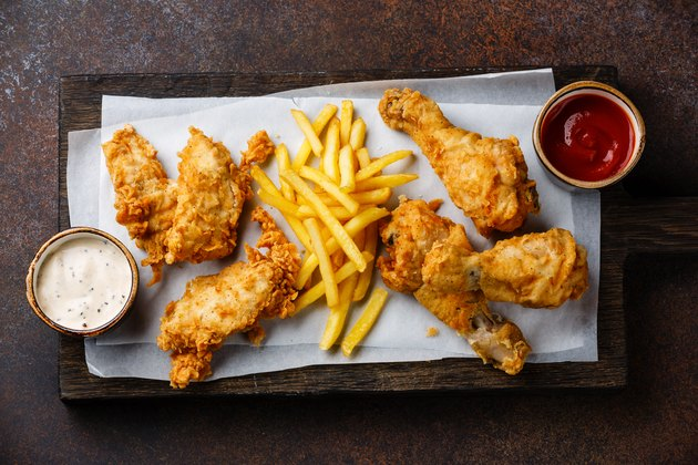 Fried breaded chicken legs with popular sauce