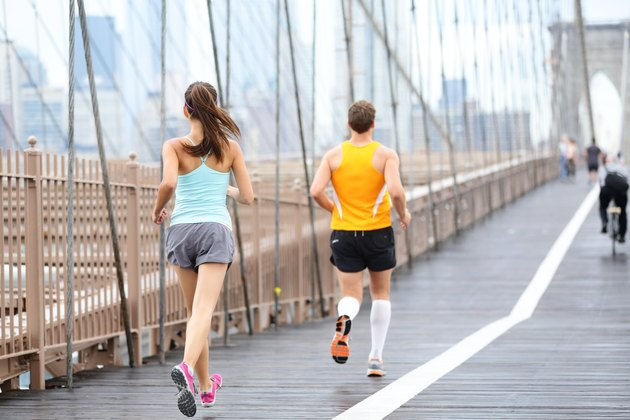 Running people jogging in New York City