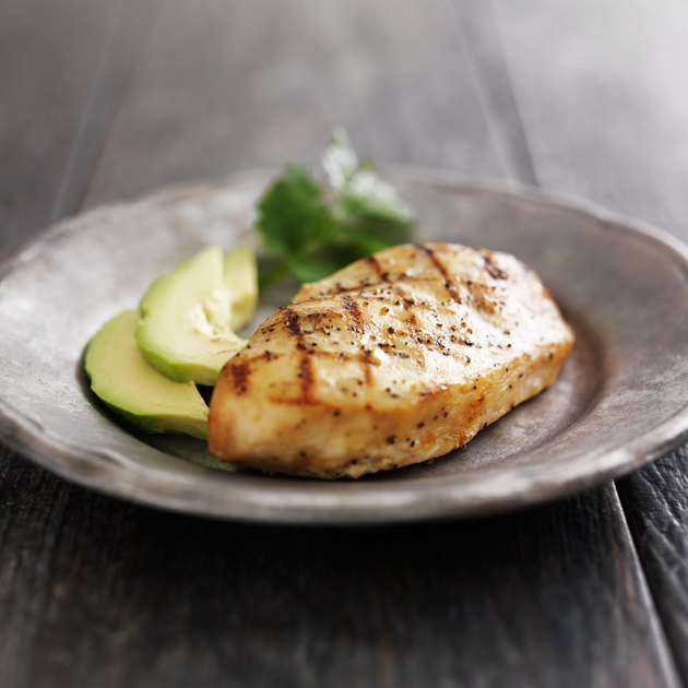 Grilled chicken with cilantro and avocado