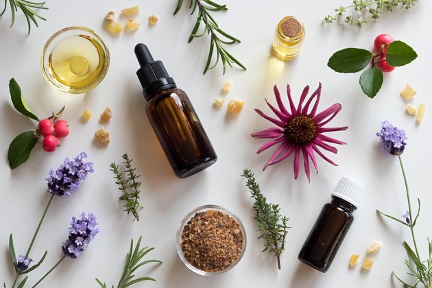 Selection of essential oils and herbs