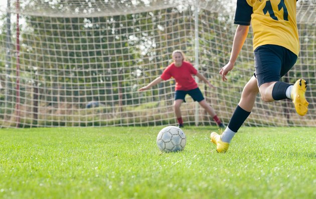 kicking and  Defending in soccer