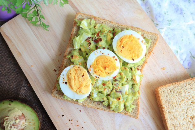 Egg and avocado toast. Top view tost.