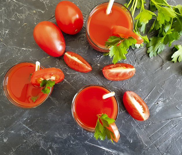 tomato juice in a glass parsley