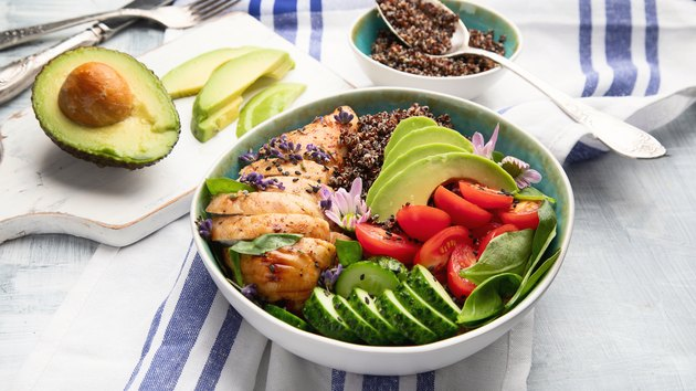 Healthy bowl with roasted chicken and quinoa