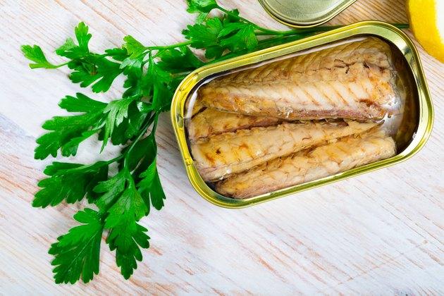 Tasty fillet of mackerel  in sunflower oil in open tin can