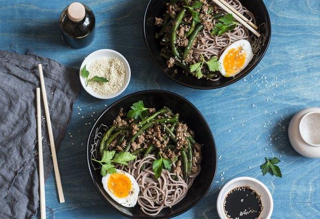 Pork, green bean stir fry and soba noodles.