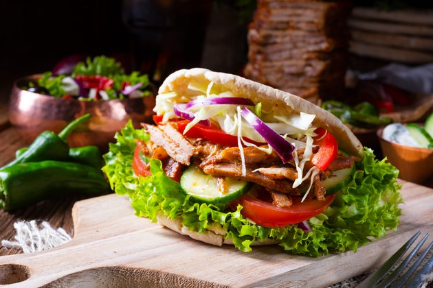 Crunchy pita with grilled gyro meat, various vegetables and garlic sauce for chicken breast recipes