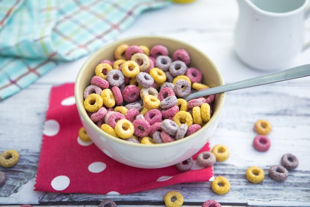 Top view of a bowl of colorful loops cereals for breakfast
