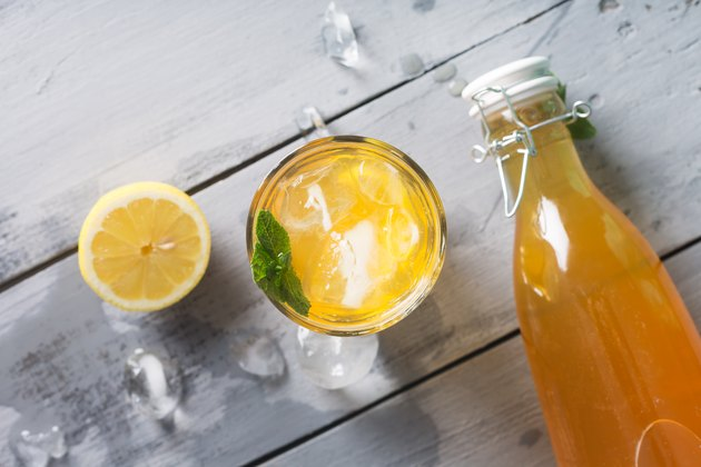 Kombucha lemonade is a fermented drink made from tea and lemon, produced using culture SCOBY
