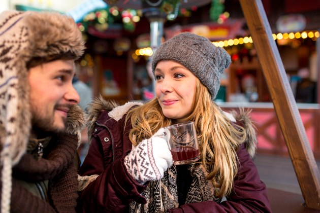 Couple and Friends on the Christmas Market in Germany