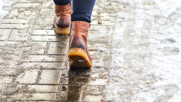 Walk on icy pavement