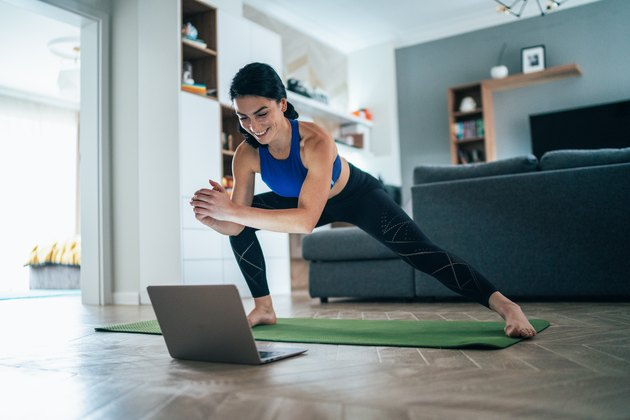 Woman working out at home