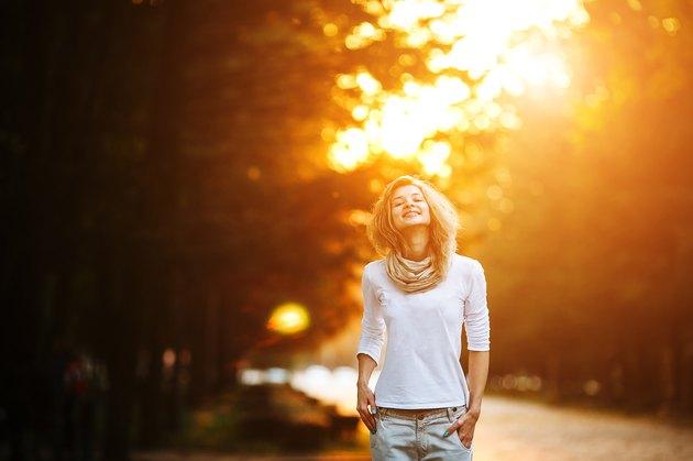 beautiful girl in sunset light