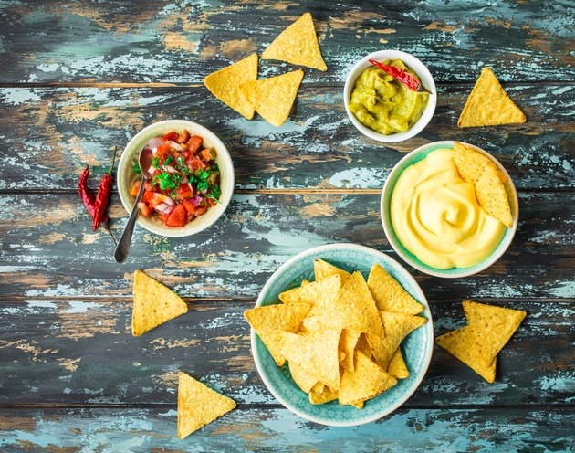 Nachos and assorted dips
