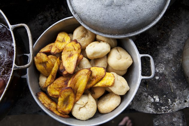 Pot of plantains on stove
