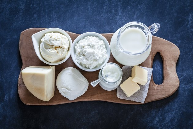 Dairy products shot from above