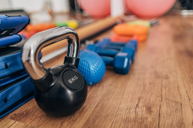 kettlebell and dumbbells for at-home workout