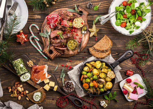 Holiday themed dinner table for trader joe's holiday items