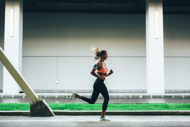 Sportswoman running in the city