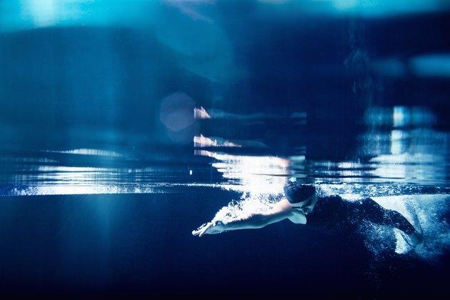 Swimmer underwater swimming freestyle