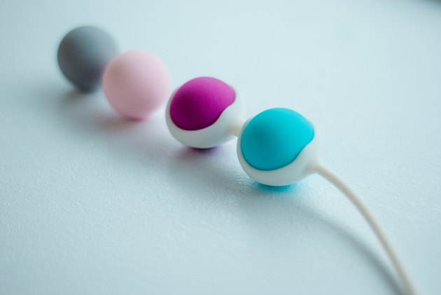 Color Kegel balls, Geisha balls in white background
