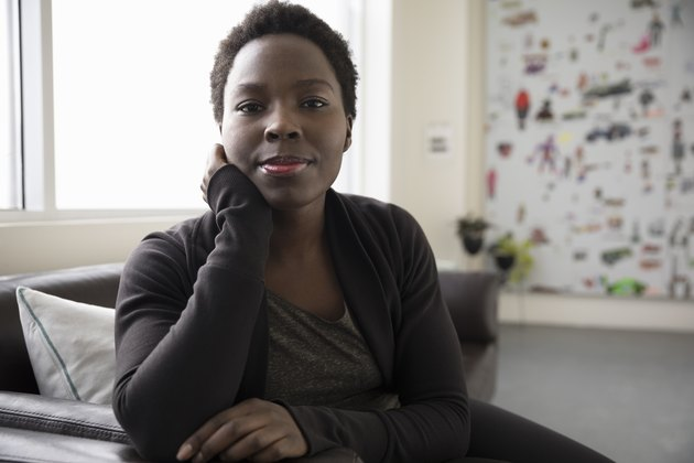 Portrait confident, strong, ambitious businesswoman