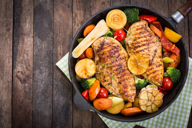 Protein-rich grilled chicken breast and vegetables in a skillet on green checkered cloth on wooden table
