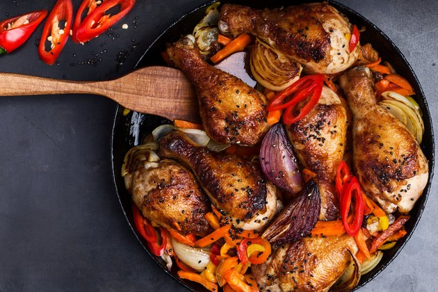 Roasted chile miso  chicken drumsticks  with bell pepper