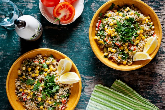 Plates Of Refreshing Summer Bulgur and Barley Salad