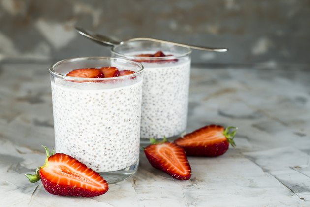 High protein low carb Breakfast with chia seeds, milk and strawberries